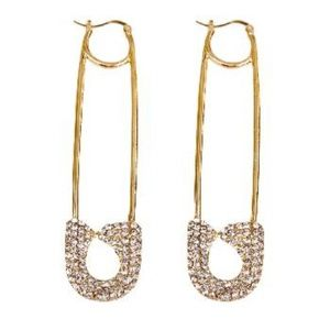 RESTOCKED!! Crystal Safety Pin Earrings